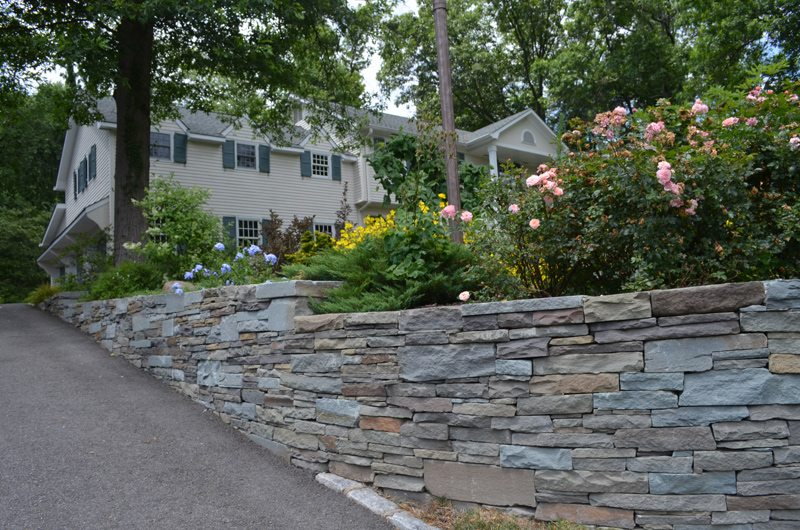 Stone Retaining Wall with Perennials