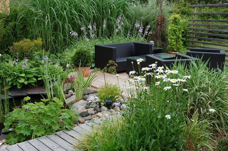 outdoor garden pond oasis seating