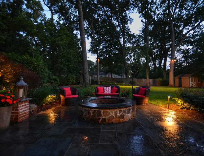 Landscape Lighting for Outdoor Entertainment Space at Dusk