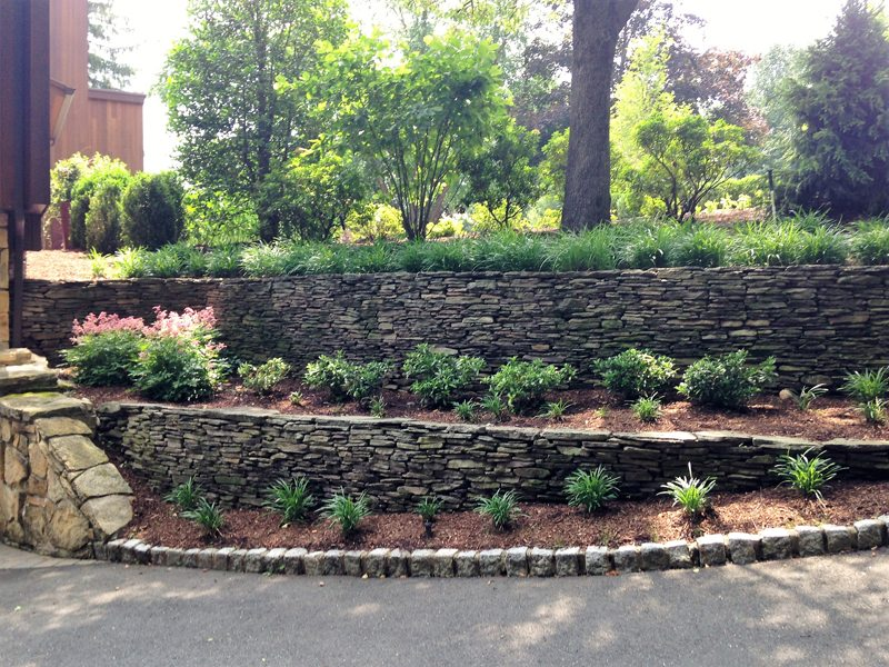 Completed Landscape Design with Tiered Stone Walls and Gardens